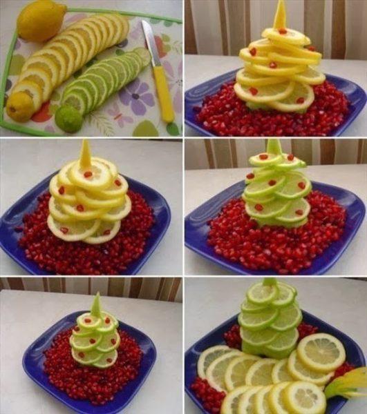 Karácsonyi gyümölcs és zöldség tálalás