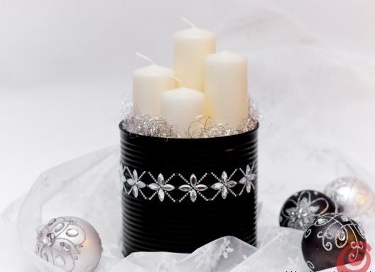 Karácsonyi gyertyatartó konzervdobozból