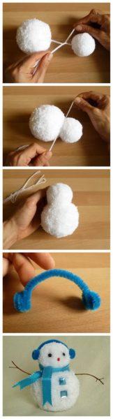 Pompon hóember készítése