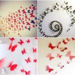 Papír pillangó dekoráció falra + sablonok