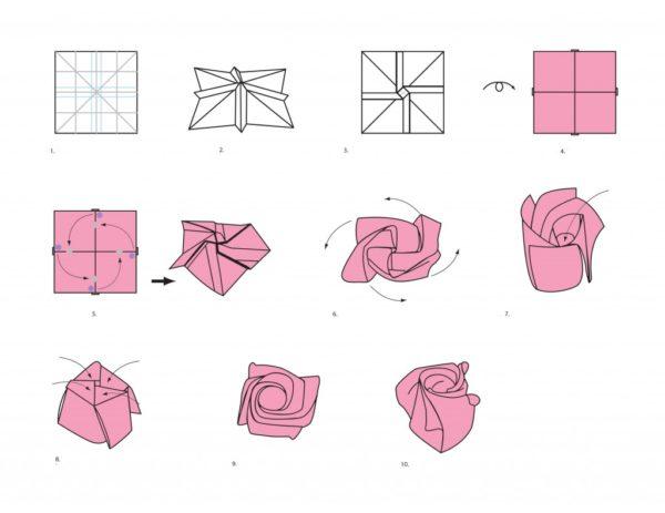 Origami rózsa