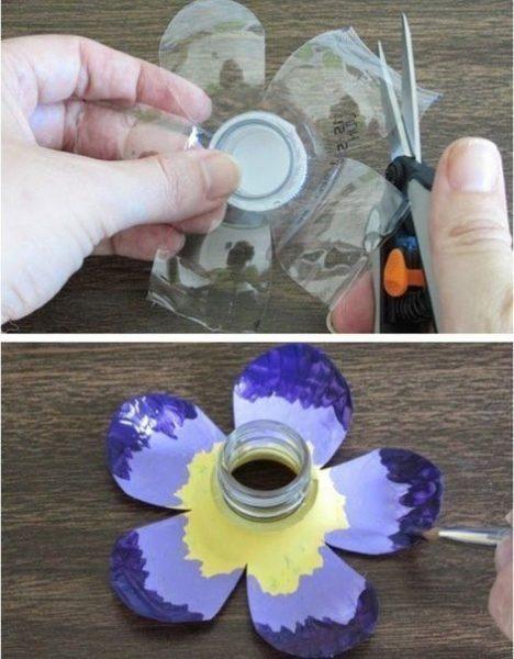 PET palackból kerti dekoráció