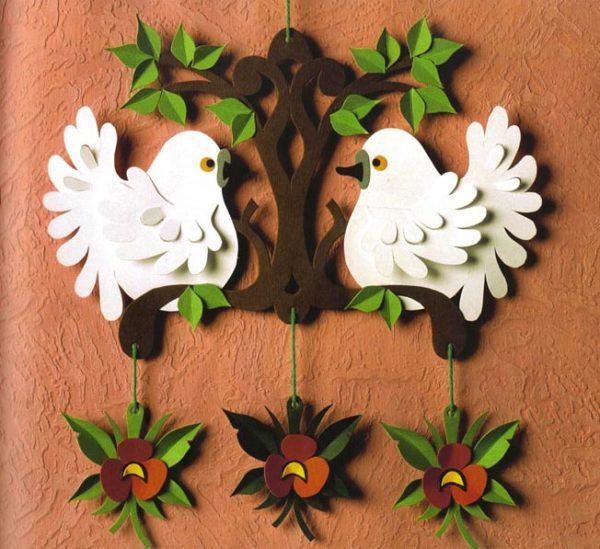 Fehér galamb dekoráció papírból