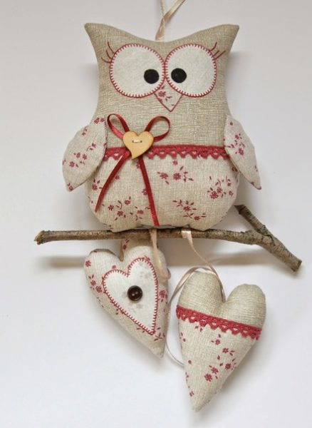 Textil bagoly dekoráció