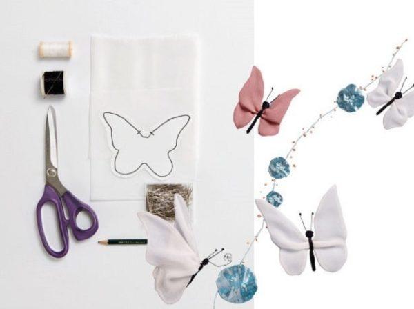 Pillangó applikáció sifon vagy selyem anyagból