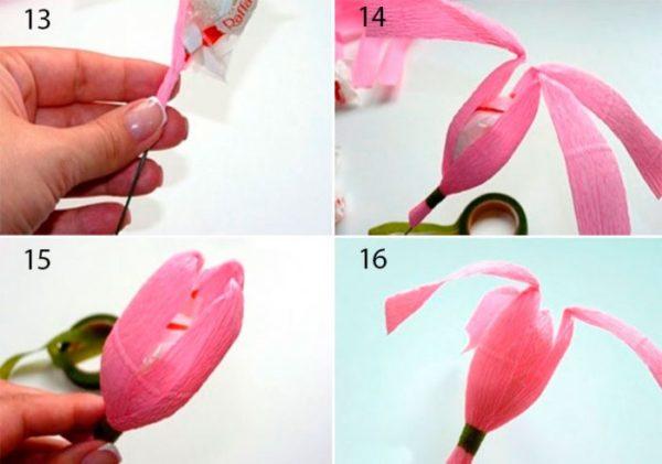 tulipán csokor krepp papírból