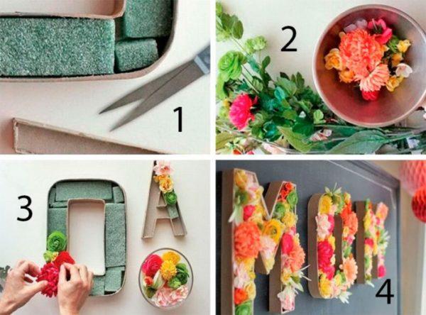 3D betűk élő virággal