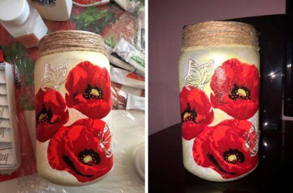 Dekupázs technikával dekorált váza