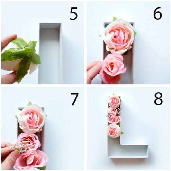 3D betűk rózsákkal