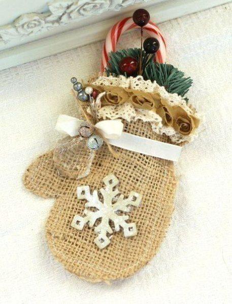 Karácsonyi dekoráció zsákvászon anyagból