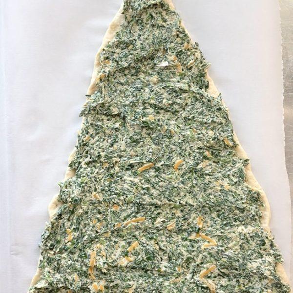 spenótos karácsonyfa leveles tésztából