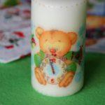 Karácsonyi dekoráció: Dekupázs gyertyára