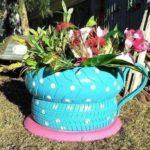 Gumiabroncs újrahasznosítás: kerti dísz autógumiból