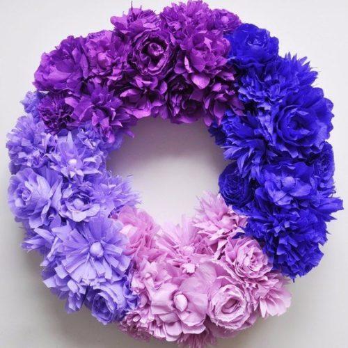 virágkoszorú krepp papírból