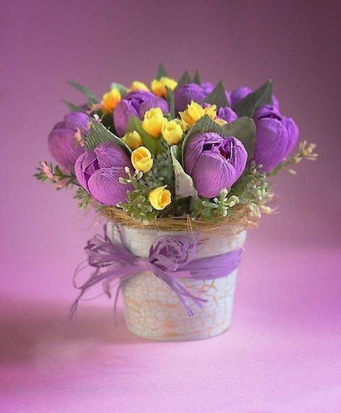 virágcsokor krepp papírból