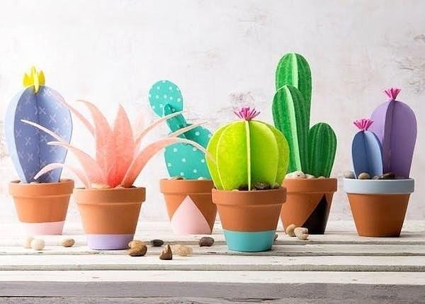 Papír kaktuszok készítése